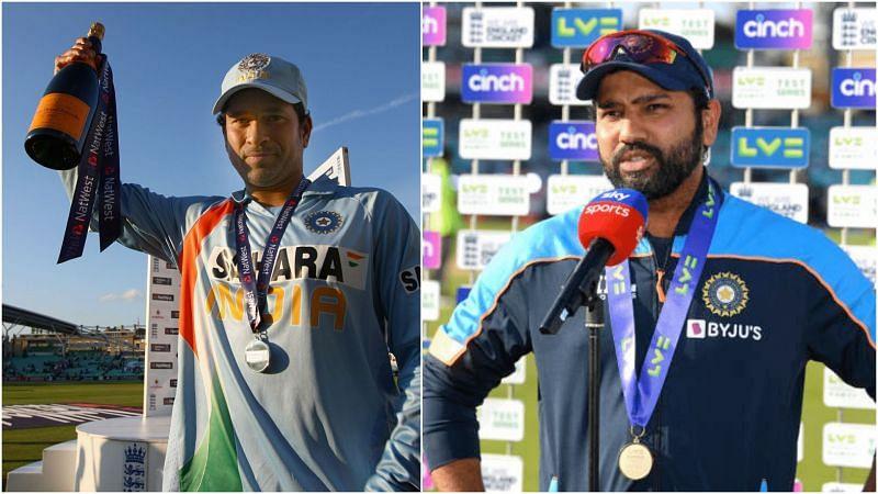 सचिन तेंदुलकर और रोहित शर्मा प्लेयर ऑफ़ द मैच अवार्ड जीतने के बाद