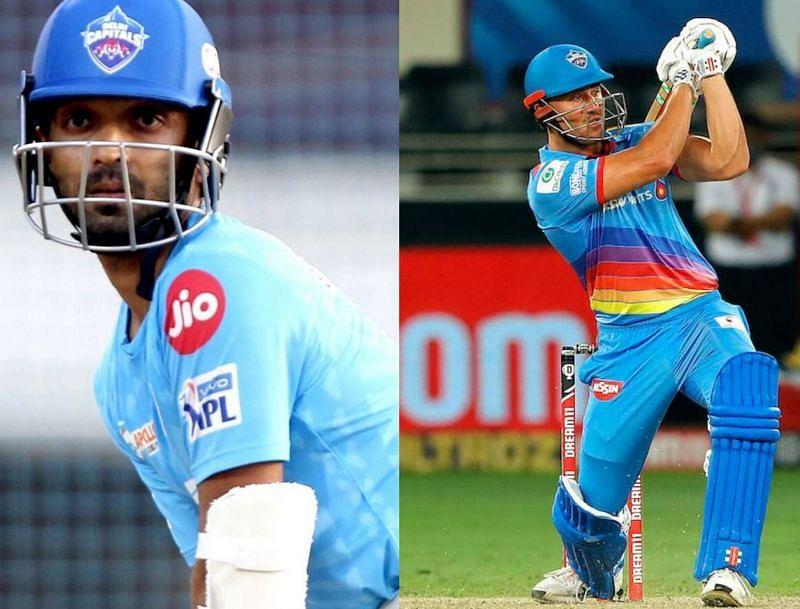 Ajinkya Rahane and Marcus Stoinis of Delhi Capitals