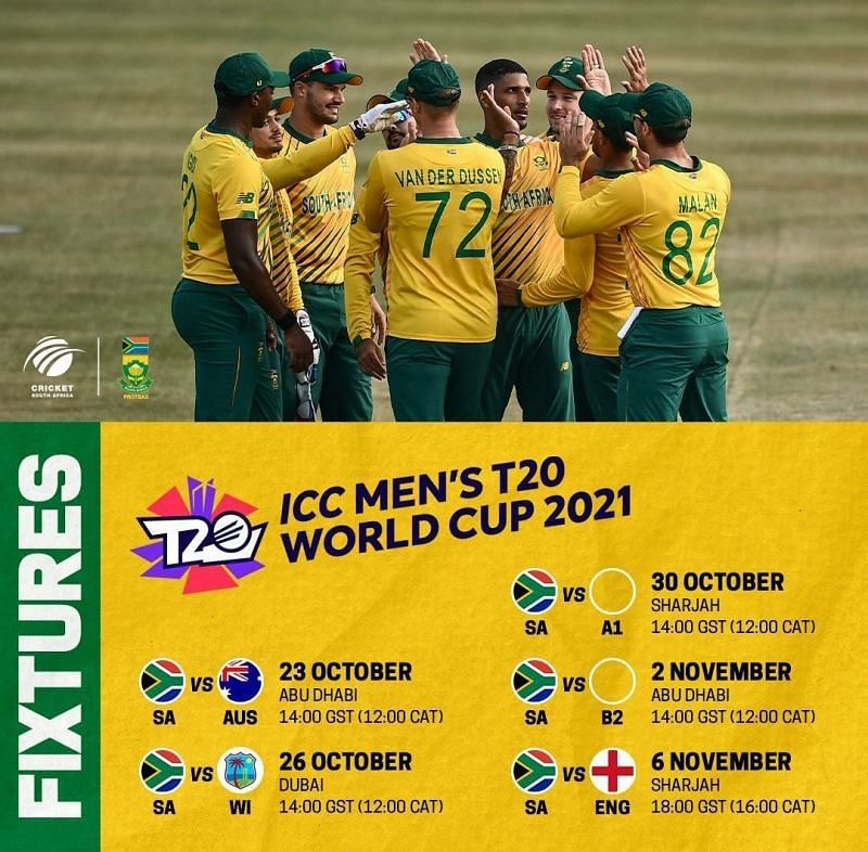 T20 World Cup 2021 Schedule - South Africa