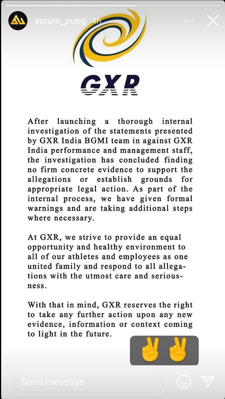 Galaxy racer India BGMI team statements after investigations
