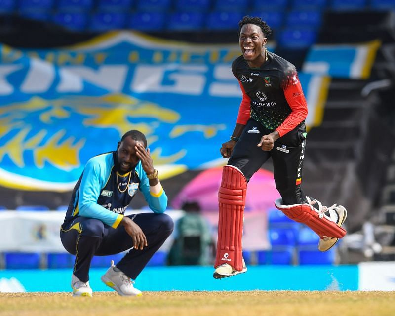 Dominic Drakes lets out a guttural roar after leading St Kitts to CPL glory