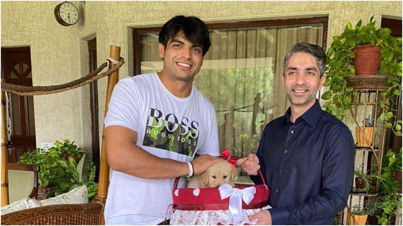 Abhinav Bindra gifted <a href='https://www.sportskeeda.com/player/neeraj-chopra' target='_blank' rel='noopener noreferrer'>Neeraj Chopra</a> with a puppy named 'Tokyo'