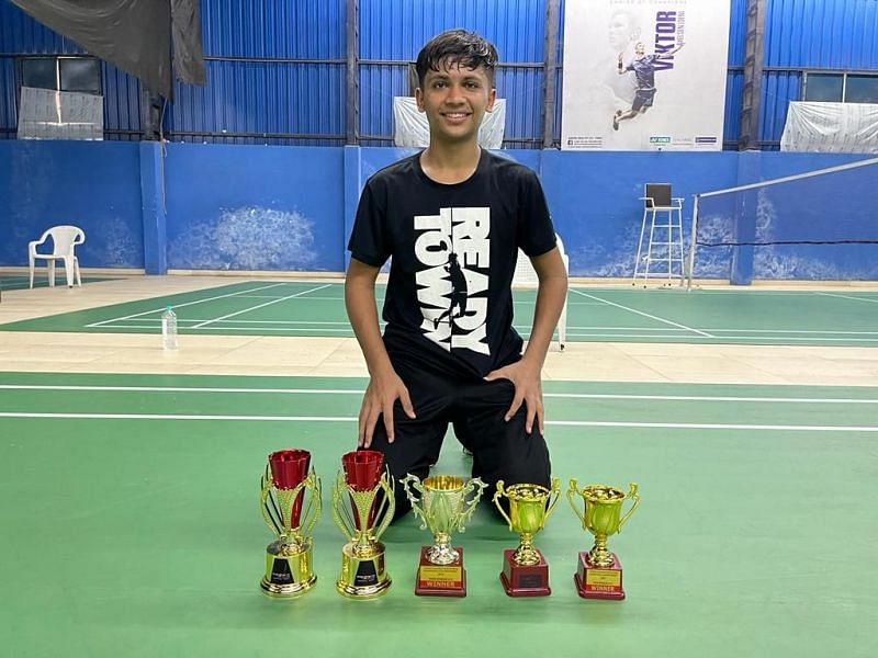 12-year-old Mohd Ali Mir with his five trophies in Surat on Wednesday