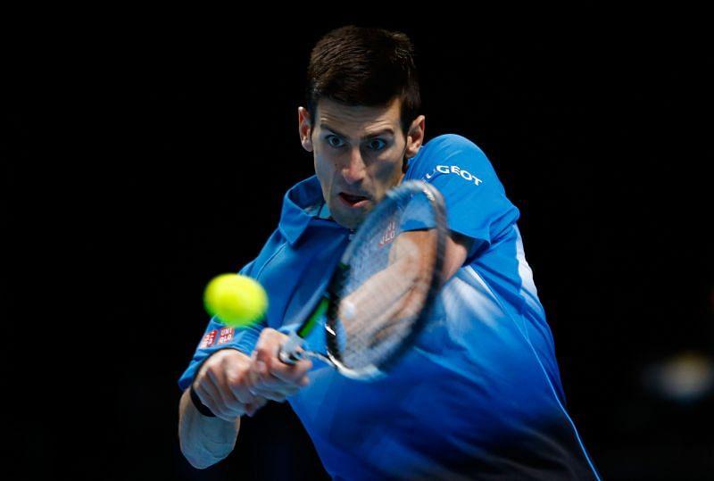 Novak Djokovic striking a backhand