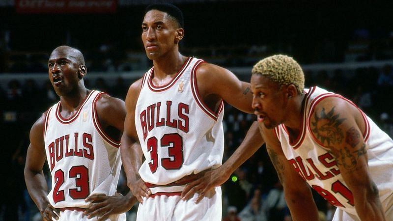 Michael Jordan, Scottie Pippen and Dennis Rodman in the NBA Finals [Source: Essentially Sports]
