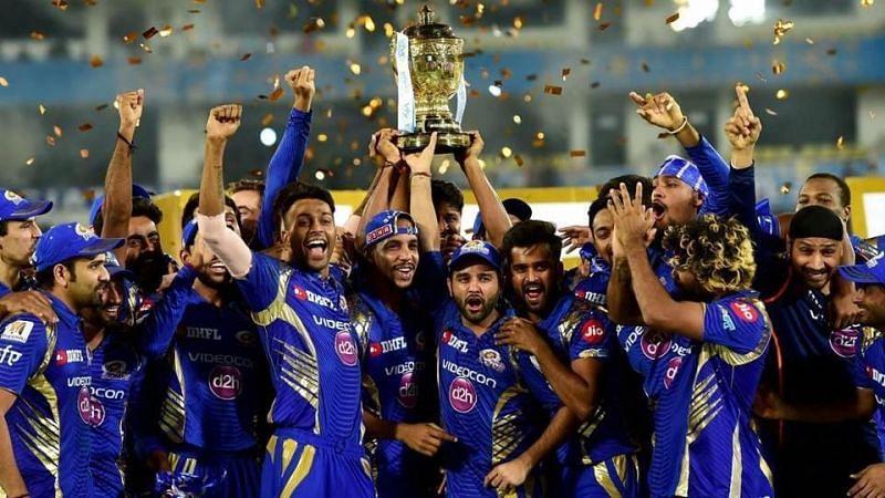 Mumbai Indians celebrating their IPL win