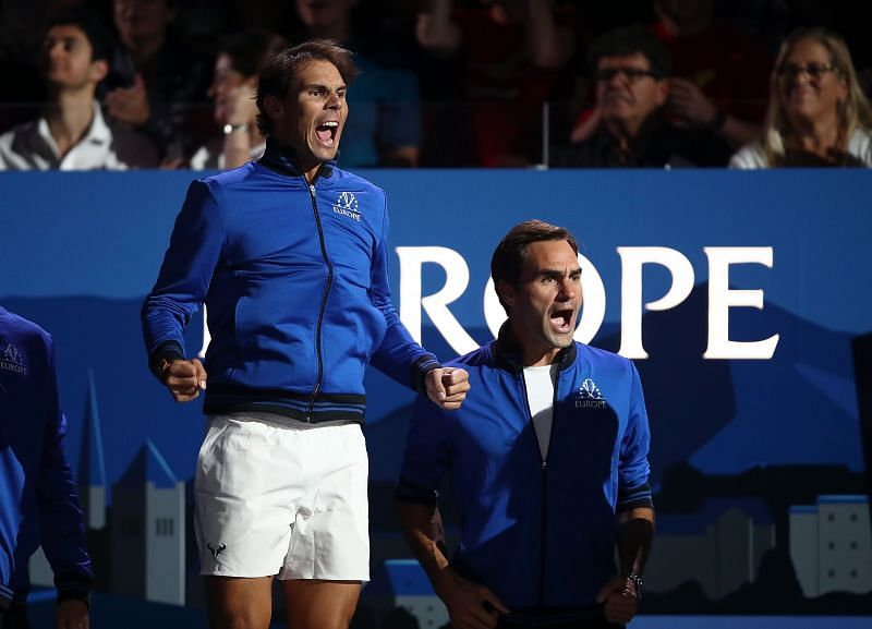 Rafael Nadal and Roger Federer at the Laver Cup 2019