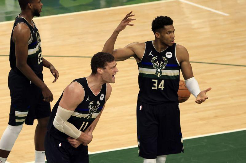 Milwaukee Bucks react to a call in the NBA Finals