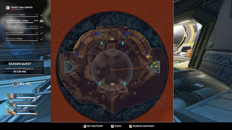 The next zone can be seen on the mini-map in Apex legends Arenas (Image via Respawn Entertainment)