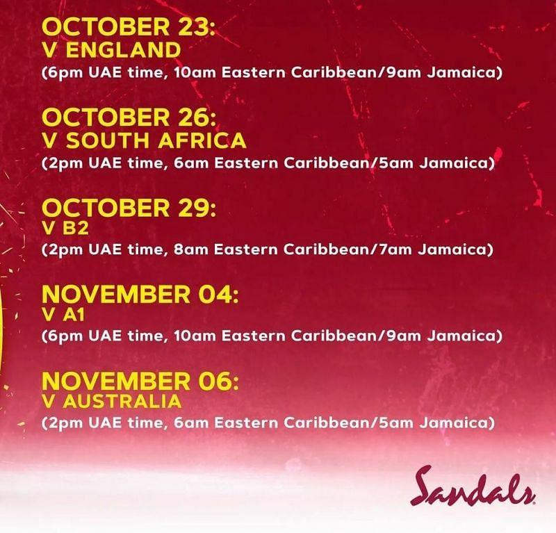 T20 World Cup 2021 Schedule - West Indies