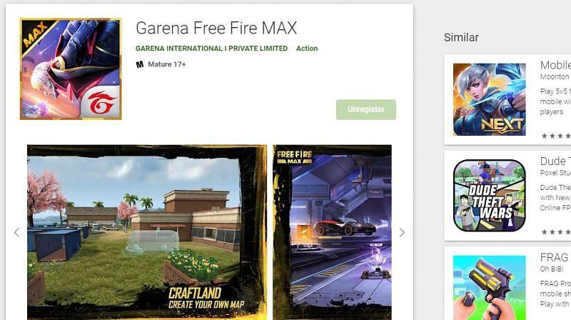 Free Fire Max Pre-Registration (Image via Google Play Store)