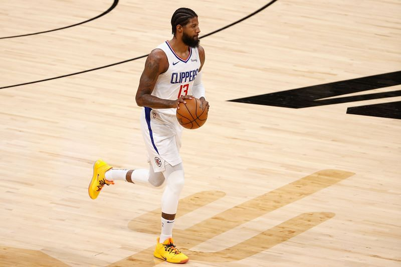 Paul George brings the ball up court for the LA Clippers.