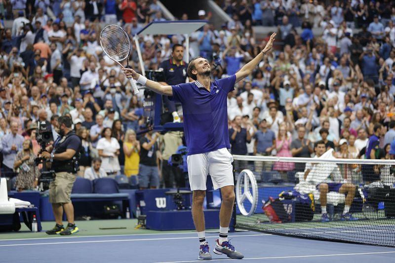 Daniil Medvedev after beating Novak Djokovic