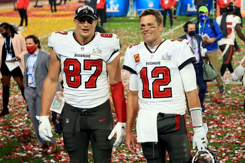 Tom Brady and Rob Gronkowski after winning Super Bowl LV