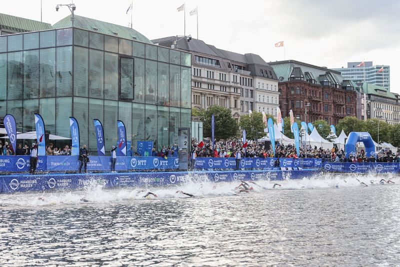 A file photo of a swimming event in Triathlon being held in Germany.