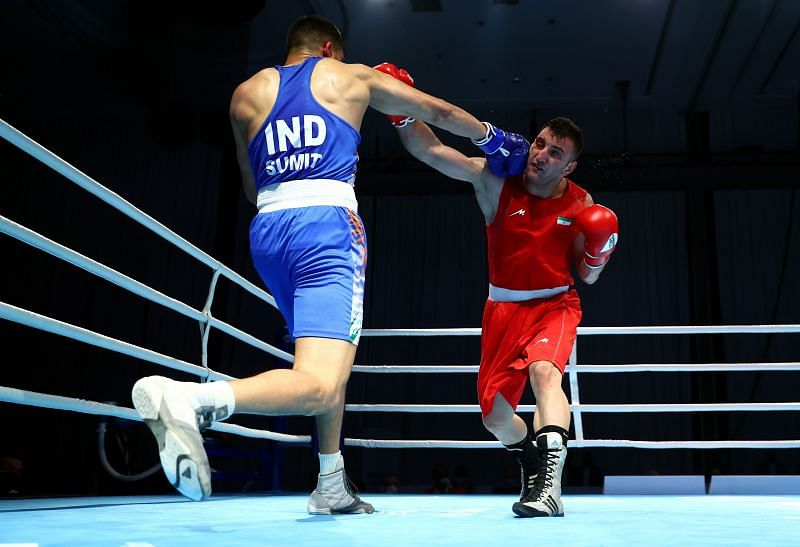 Sumit Sangwan in action at the Asian Boxing Championships
