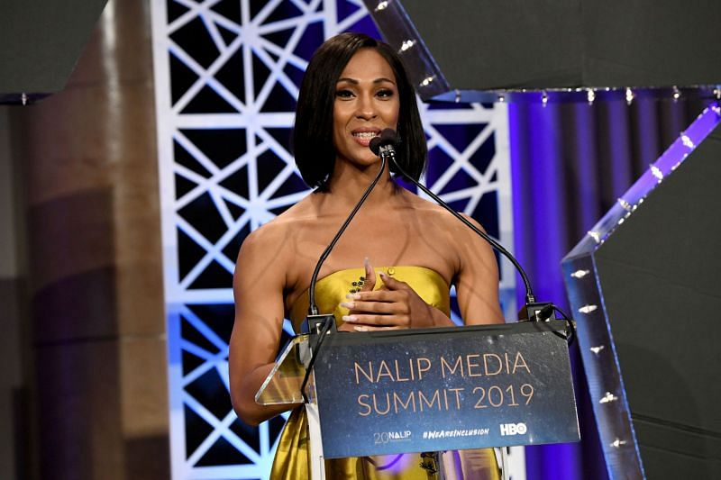 MJ Rodriguez accepts the Outstanding Achievement in TV Award onstage during the NALIP Media Summit's Latino Media Awards. (Image via Getty Images)