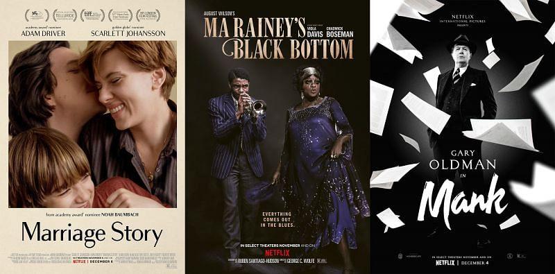 Marriage Story, Ma Rainey's Black Bottom, and Mank Posters (Image via Netflix)