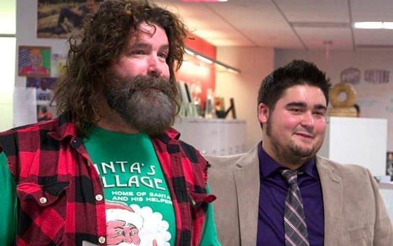 Mick Foley with his son Dewey at WWE Headquarters