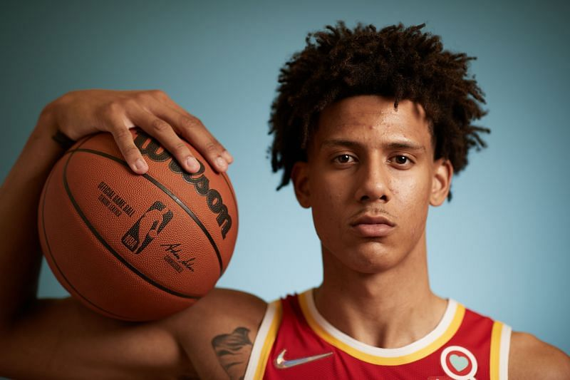 Jalen Johnson #1 of the Atlanta Hawks poses for a photo during the 2021 NBA Rookie Photo Shoot on August 15, 2021 in Las Vegas, Nevada.