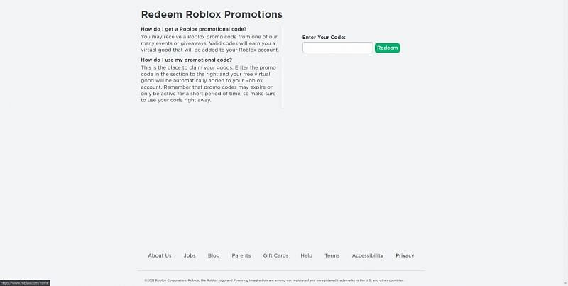 The Roblox code redemption page. (Image via Roblox Corporation)