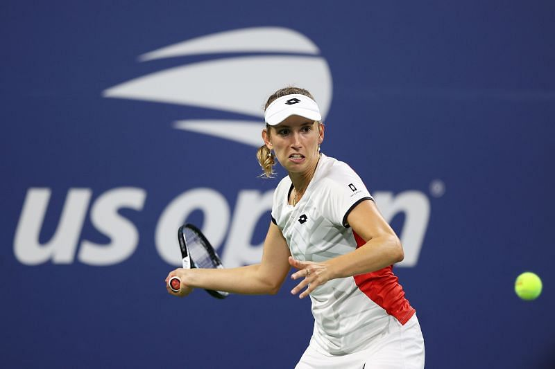 Elise Mertens in action during the 2021 US Open