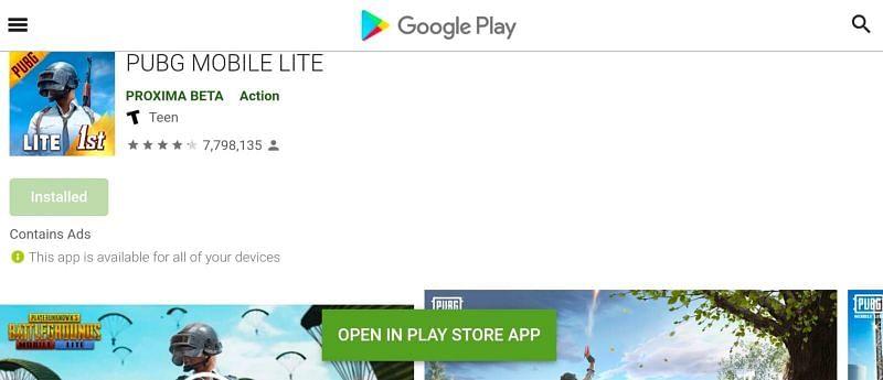 Os jogadores podem baixar a versão atual do jogo diretamente da Google Play Store (imagem via PUBG Mobile Lite / Google Play)