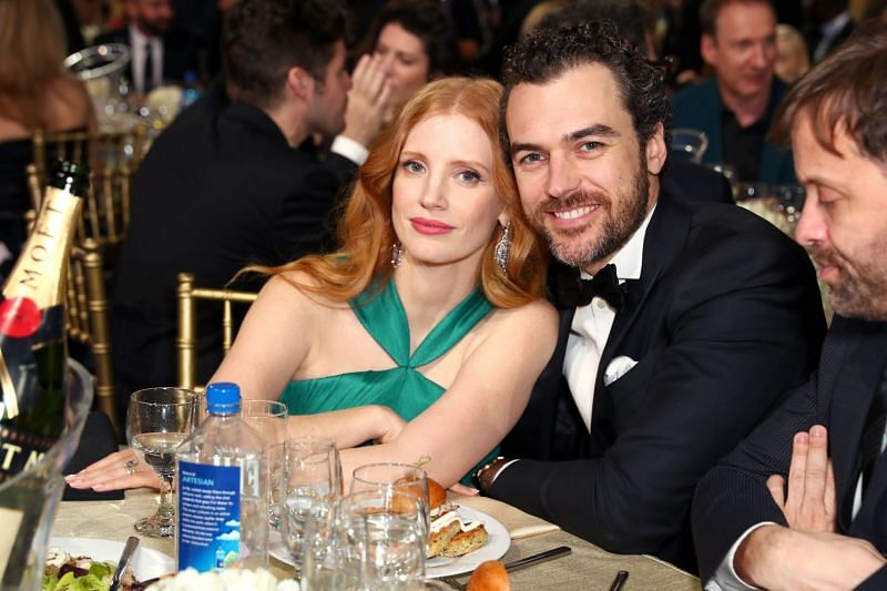 Jessica Chastain with husband Gian Luca Passi de Preposulo. (Image via Getty Images)