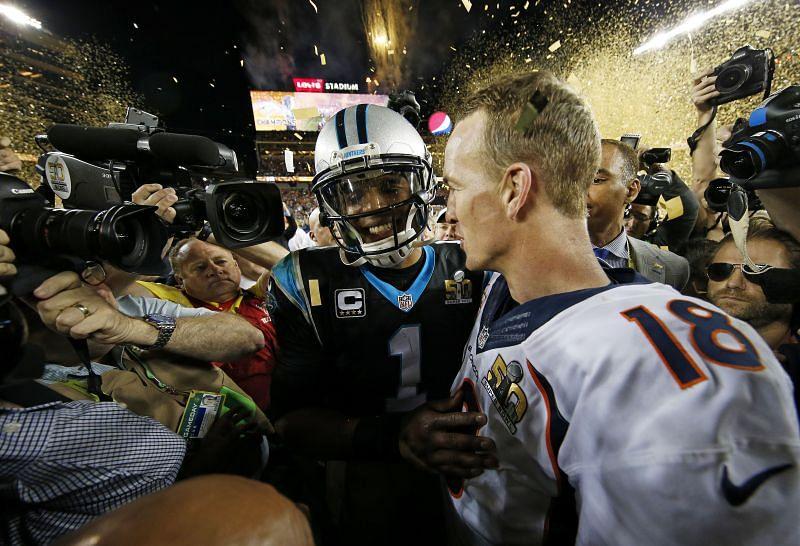 Cam Newton after Super Bowl 50 between Carolina Panthers and Denver Broncos