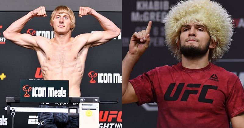 Paddy Pimblett (left) said he did not care about what the Khabib Nurmagomedov (right) fans thought about him and his opinion on 'The Eagle'