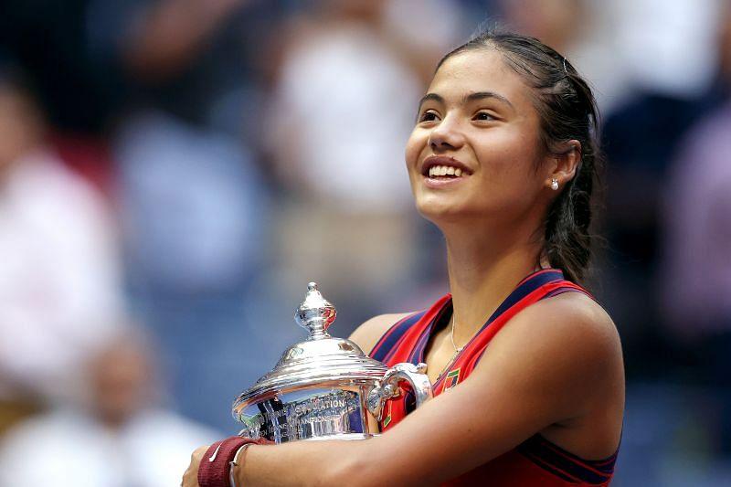 Emma Raducanu celebrating her 2021 US Open win.