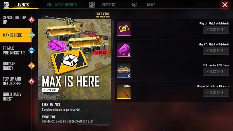 Os jogadores podem clicar no botão reclamar para obter as recompensas (Imagem via Free Fire)