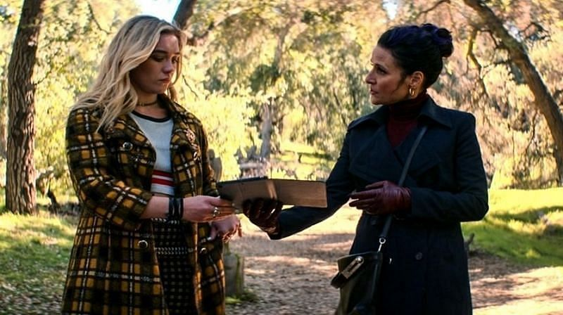"Contessa Valentina Allegra de Fontaine (or Val) giving Yelena Belova an assignment to kill Barton in ""Black Widow (2021)"" (Image via Marvel Studios)"