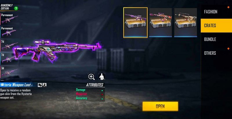 1x Hysteria Weapon Loot Crate (Image via Free Fire)