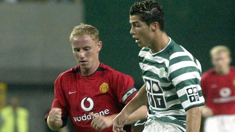 Young Ronaldo in action against Manchester United. Ronaldo impressed everybody and was promptly signed after the match.