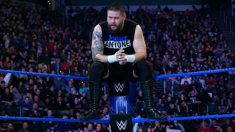 Kevin Owens in action on the blue brand
