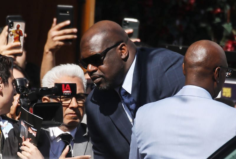 Retired NBA basketball player Shaquille O'Neal departs the 'Celebration of Life for Kobe and Gianna Bryant' memorial service outside the Staples Center on February 24, 2020 in Los Angeles, California.