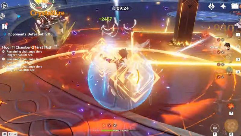 Zhongli puts up his shield (Image via Genshin Impact)