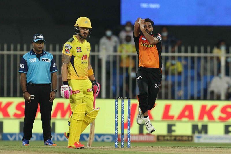 Bhuvneshwar Kumar has not looked effective in the UAE leg of IPL 2021 [P/C: iplt20.com]