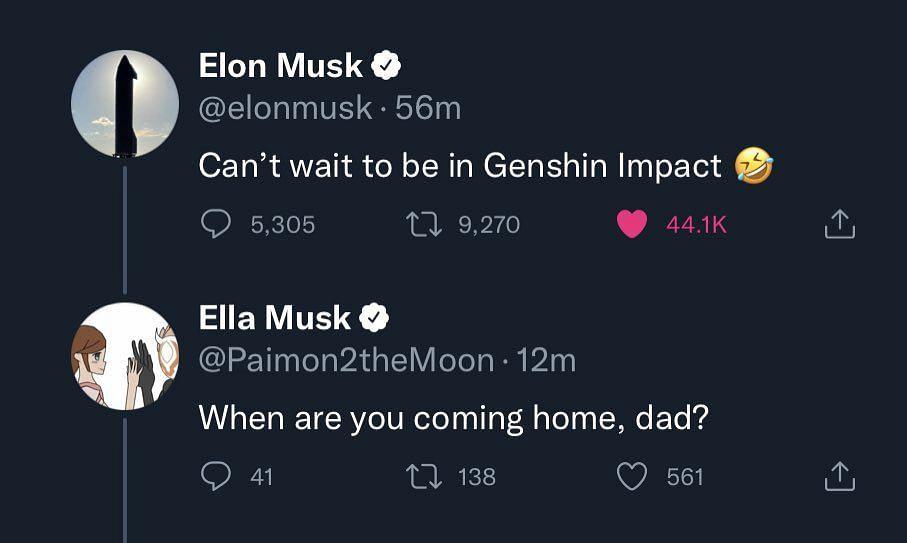 Deleted tweet by Ella Musk (Image via Twitter/Genshin Update)