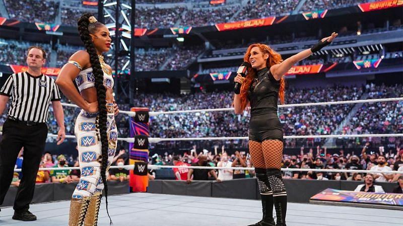 Bianca Belair and Becky Lynch at SummerSlam