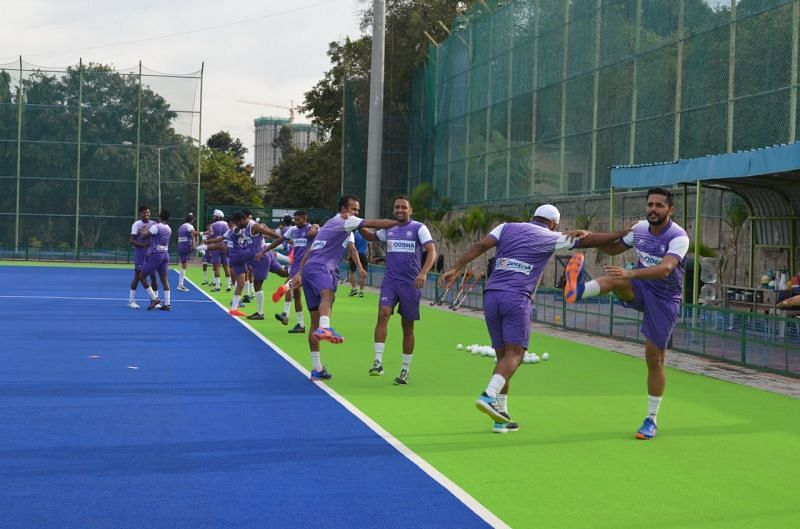The Indian men's hockey team at the SAI, Bengaluru. (PC: SAI)