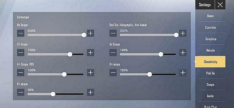 PUBG Mobile Lite gyro sensitivity settings (Image via Krafton)
