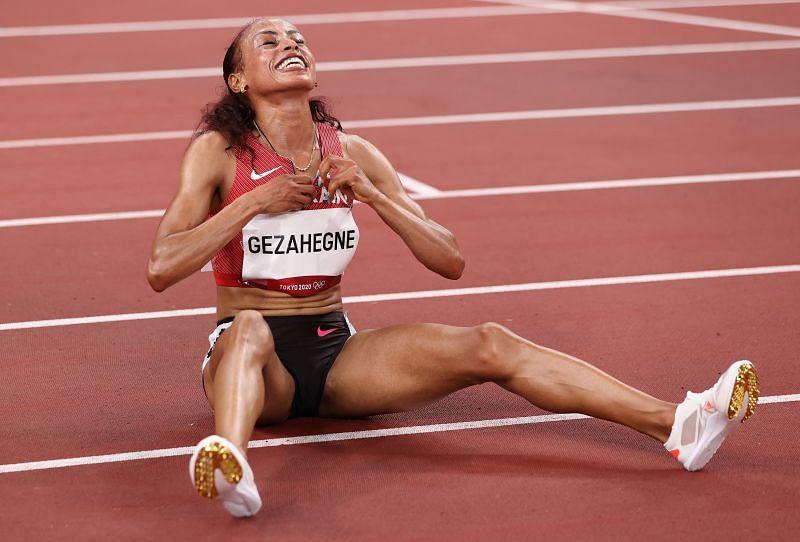 Bahrain's Kalkidan Gezahegne celebrates after winning an Olympic medal in Tokyo.