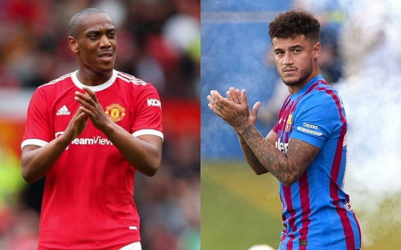 Manchester United's Anthony Martial and Barcelona's Philippe Coutinho