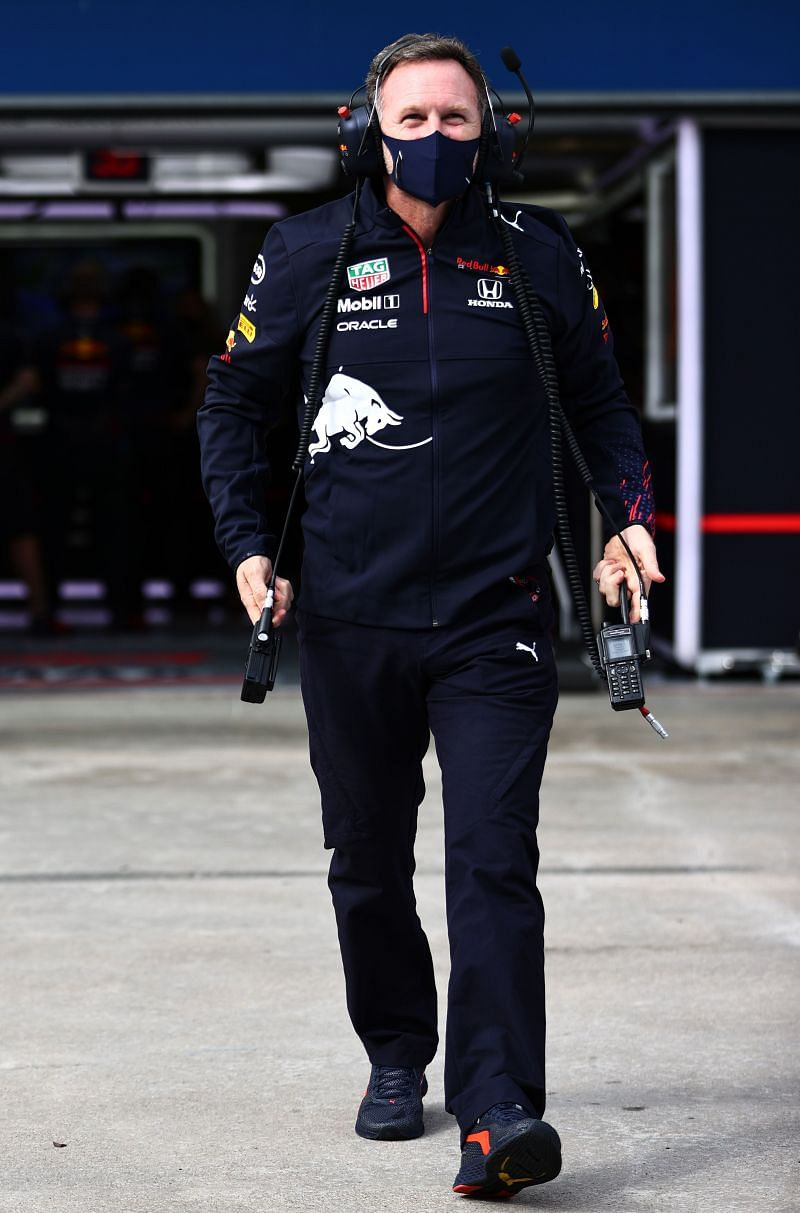 Red Bull Racing Team Principal Christian Horner in the Pitlane during practice ahead of the F1 Grand Prix of Turkey at Intercity Istanbul Park. (Photo by Mark Thompson/Getty Images)