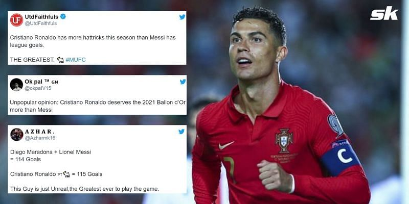 Twitter went berserk after Cristiano Ronaldo scored his 10th international hat-trick for Portugal last night