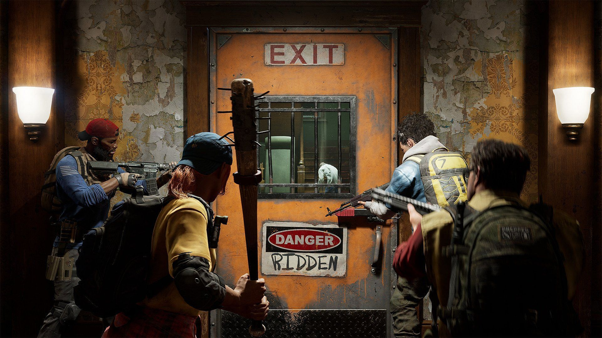 Characters approaching a closed door in Back 4 Blood. (Image via Turtle Rock Studios)