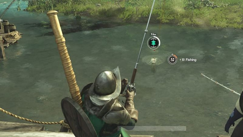 A player fishing in the New World.  (Image via Amazon Games)
