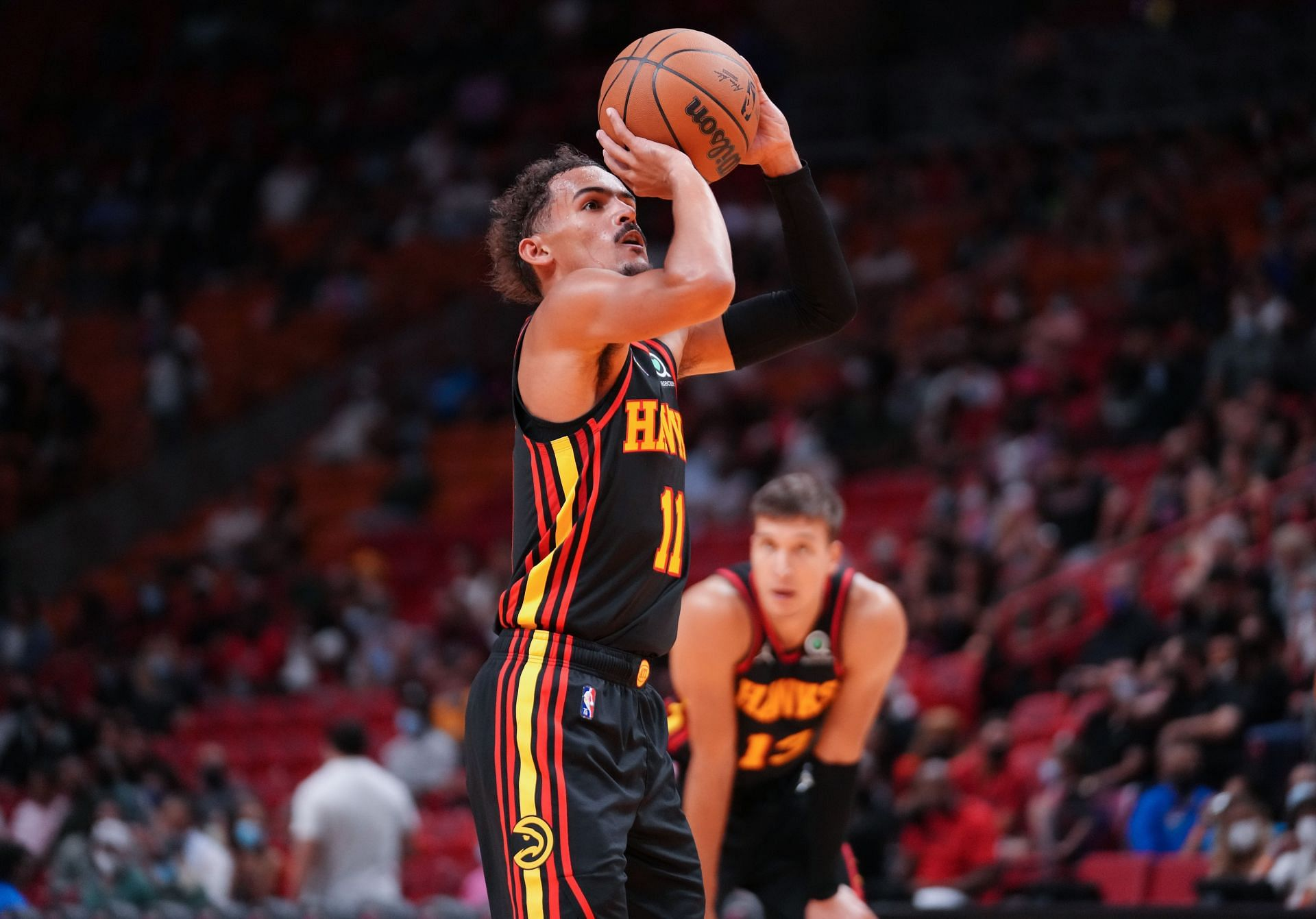 Trae Young during Atlanta Hawks v Miami Heat